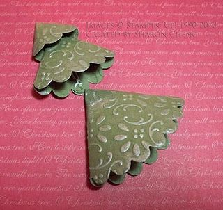 Scalloped Circle Christmas trees - now this really does look quick and easy. I can think of lots of variations on this: cut circles and fold - treat the edges how you like.