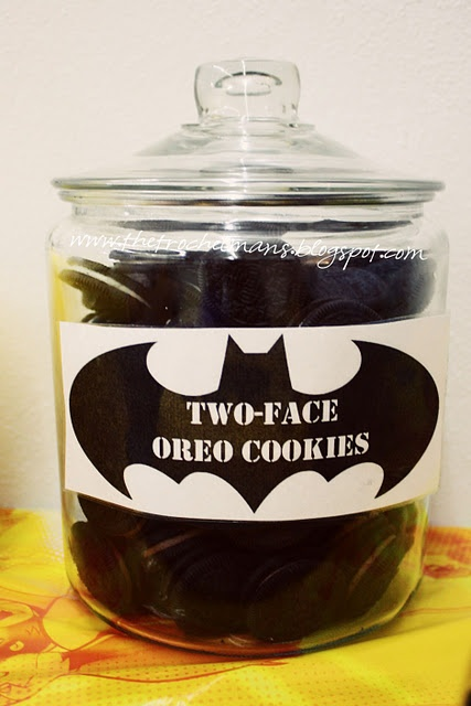 Batman Birthday Party Food for my Nephew. One of these days.,,,,,,,,,,That is a general good idea for two faced snack..........