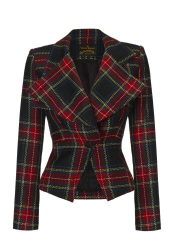 First seen on the Anglomanina Autumn/Winter 2013-14 Catwalk Show, always an iconic favourite in Vivienne's collections, this season sees the tartan with a larger visible weave, creating a more naïve look. Displaying a sleek silhouette, the Windmill Jacket comes crafted with exaggerated, fluid lapels and a button collar detail. For an elegant finish team this with the matching Freedom Skirt.