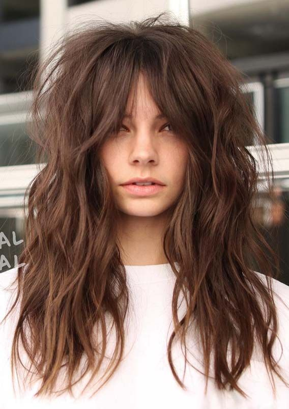 Awesome Long Textured Hairstyles With Bangs In 2019 Mode Ideas Long Thin Hair Long Hair Styles Modern Shag Haircut