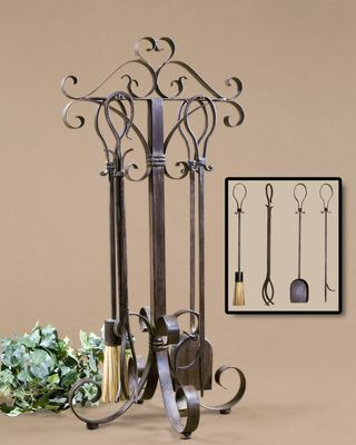 Mediterranean Scroll Fireplace Tool Set (Set of 5)