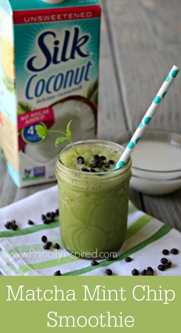 Dairy-Free Matcha Mint Chip Smoothie Recipe | Primally Inspired @lovemysilk #silkbloom