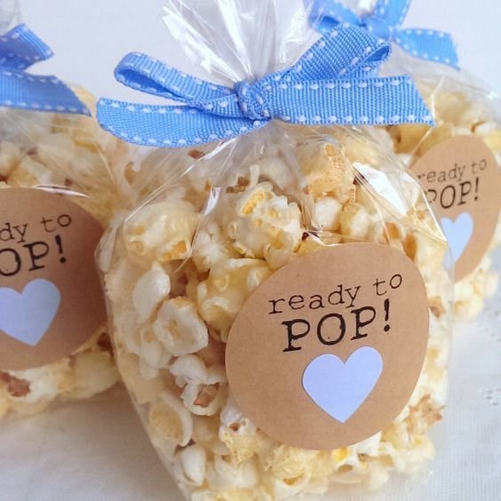 DIY About To Pop Baby Shower Theme - popcorn favor bags - so cute!