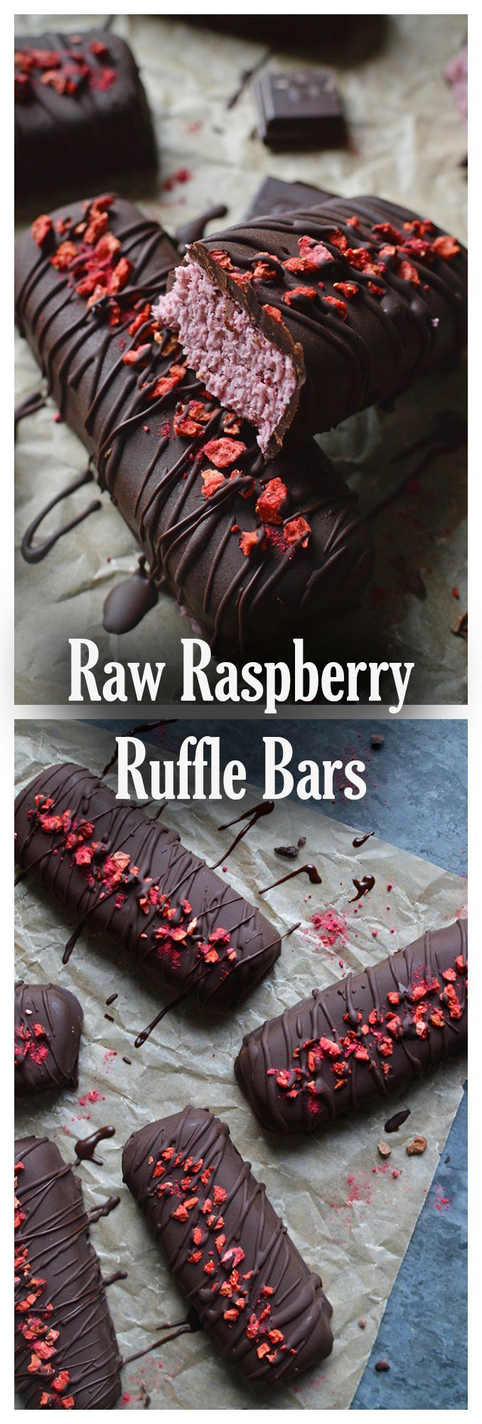 Raw raspberry Ruffle bars, with a creamy coconut and raspberry centre, smothered in raw dark chocolate.