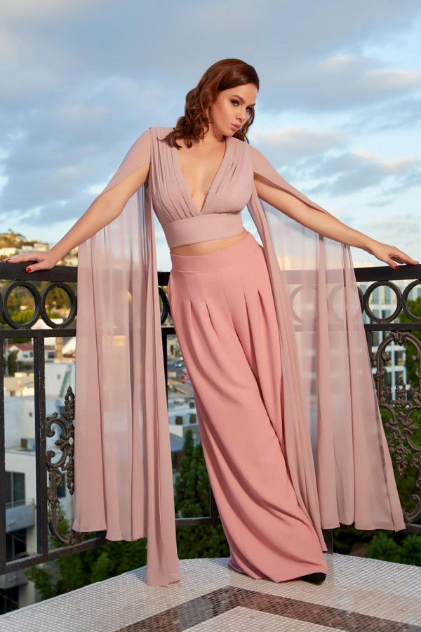 643d73d1278 Gothic Glamour Crop Top in Blush Pink with Floor Length Sheer Cape Sleeves