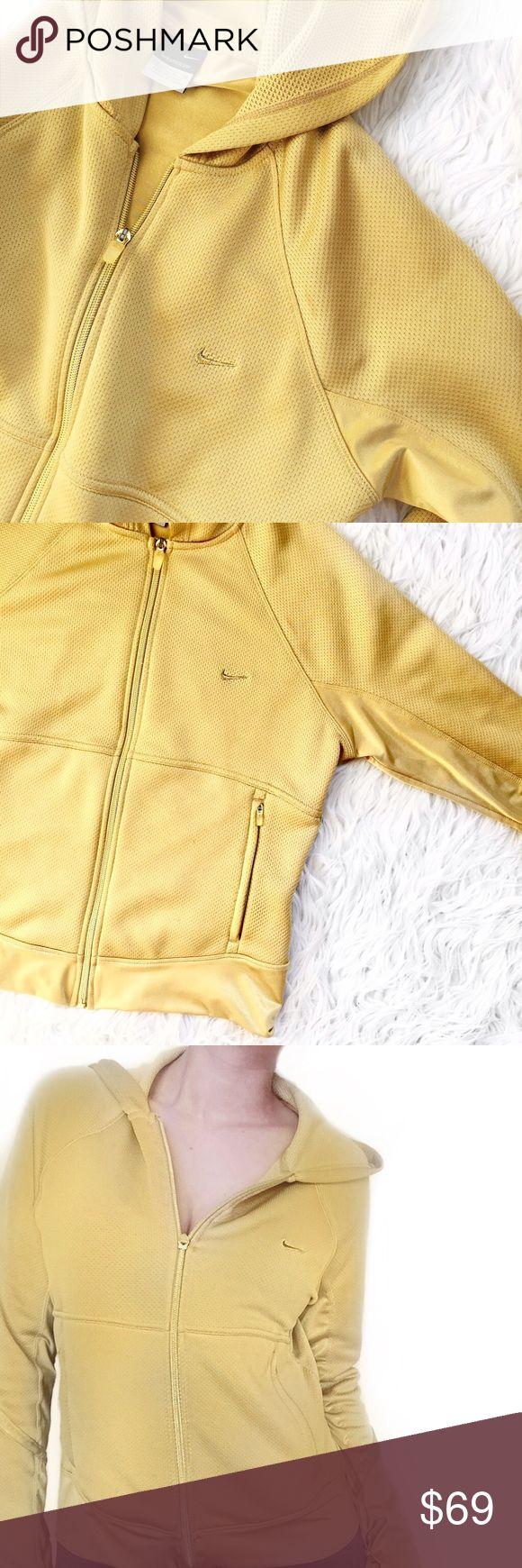 • Nike • Gold Zip Up Sweater [Nike sphere dry] gold hoodie Nike Sweaters