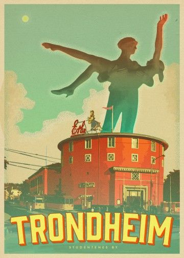 Retro style poster promoting Trondheim as a fun place for students.  Personal project (work in progress) #trondheim #poster #tourism #student #nidaros #studentersamfundet