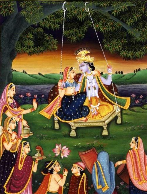 krishna and Radha swinging