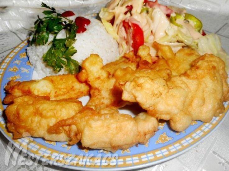 Tejfölös csirkecsíkok rizzsel, salátával recept