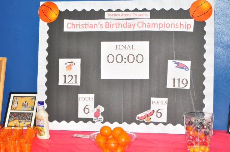 "DIY NBA Scoreboard.  Cuties (little oranges) were ""Free Throws"""
