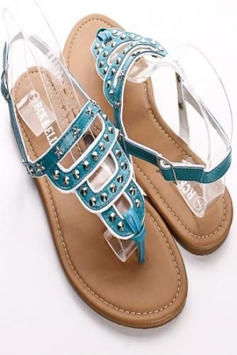 TEAL CUT OUT STAR AND STUD ACCENT SANDALS