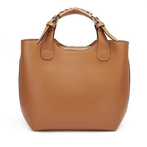 Nucelle Genuine Leather Top Zippers Top Handle Satchel Office Tote Shopper Hobo Handbag Purse Shoulder Bag Tan 117014212 *** Continue to the product at the image link.