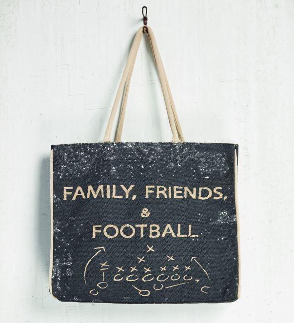 Family, Friends & Football Burlap Tote