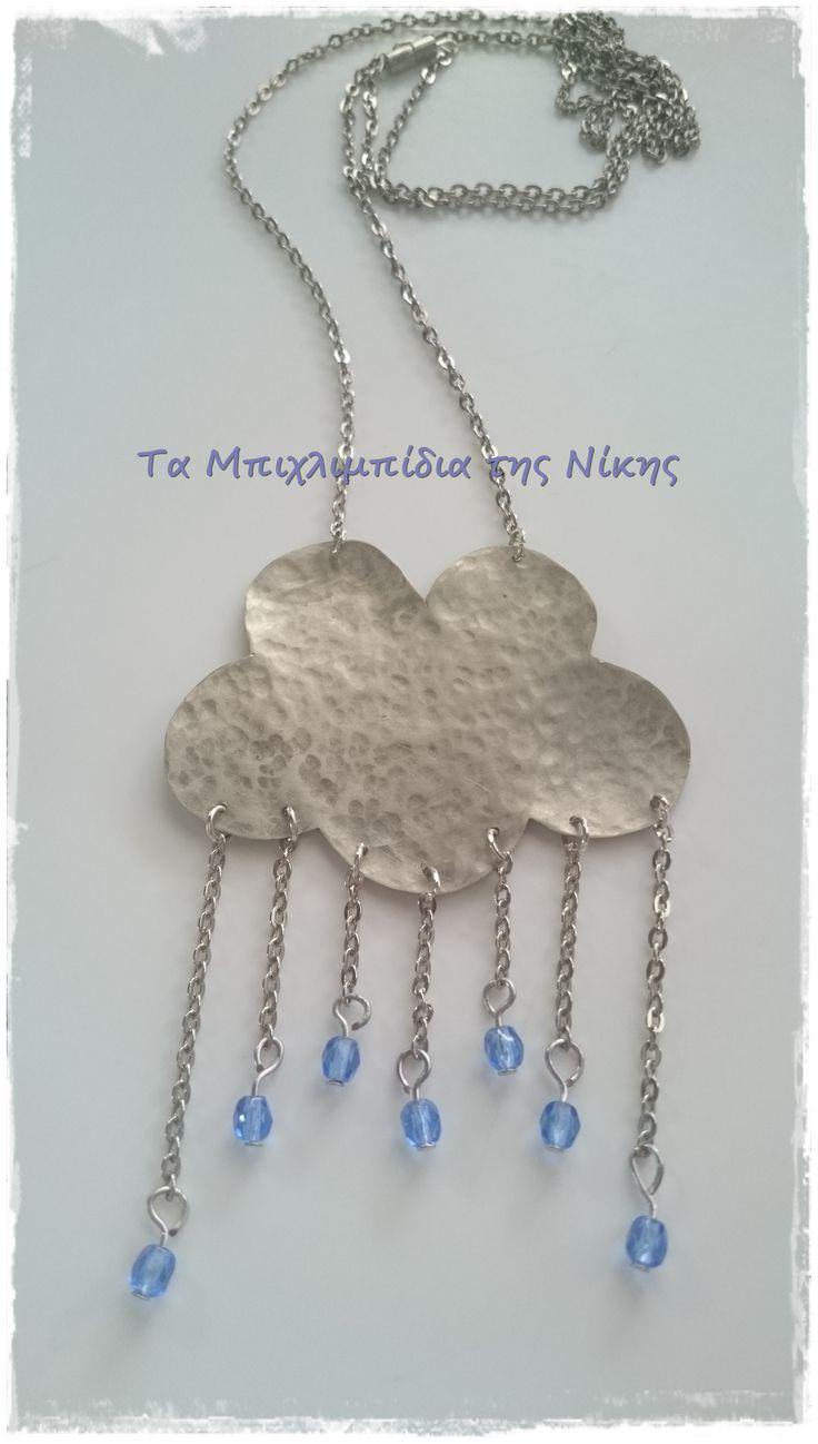 """Μακρύ κρεμαστό συννεφάκι από αλπακά, ασημί αλυσίδα και κρυσταλλάκια για σταγονίτσες..!  Long necklace made of metal and preciosa crystal """"drops""""..!"""