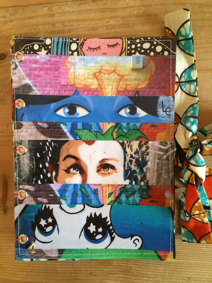 "Handmade notebook or journal with collage and fabric cover. For this notebook ""Cat eyes"", i used my photographs from street art found on the walls of: -Barcelona, Spain -New York City, USA -Prague, Czech republic -Paris, France -Dublin, Ireland -Cabestany, France For sale on www.delphineiv.com"