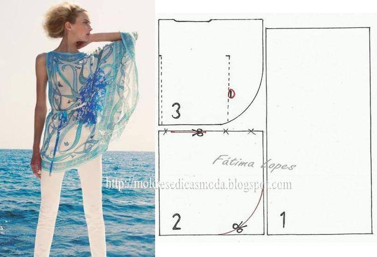PASSO A PASSO MOLDE TÚNICA Corte um retângulo de tecido com o dobro da altura e metade da largura da anca mais a altura que pretende para a manga. Dobre a