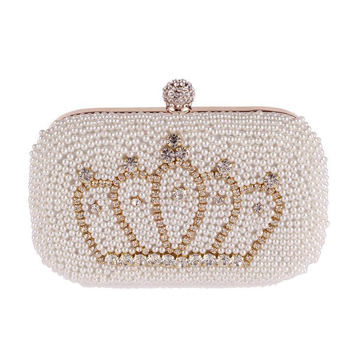 Aliexpress.com: Comprar Corona de Diamantes de oro Perlas Mujeres Perla Bolso de Noche de Lujo Elegante Banquete de Boda Nupcial Magnífico Bolso de Embrague Monedero de La Manera MX162 de Bolsos de noche fiable proveedores en SCIONE FASHION