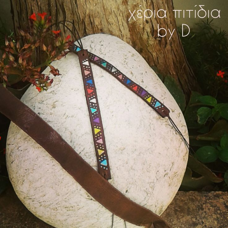 Leather painted bracelets