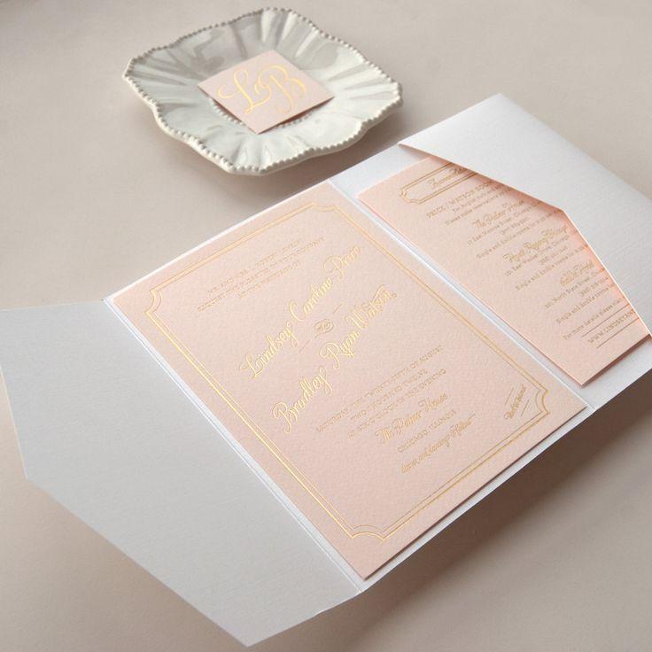 Metallic Gold Foil Letterpress Wedding Invitation on Pink Paper