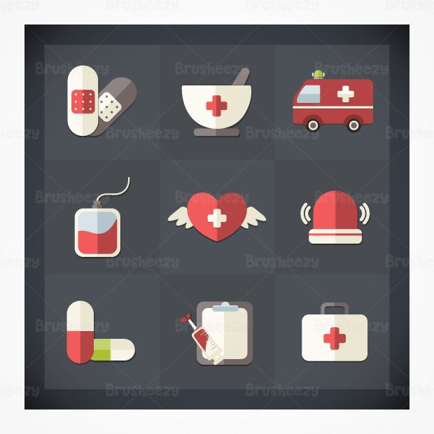 Flat medical icon pack