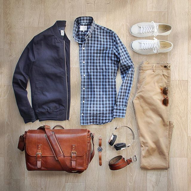 I think we skipped spring and went straight to summer ☀️#spring  Chinos: @corridornyc Tan Stretch Chinos–Made in USA Shirt: @ledburyshirts Bag: @onabags Headphones: @lstnsound Jacket: @topman via @nordstrommen Watch: @tsovet Belt: @jcrew Shoes: @converse Jack Purcell