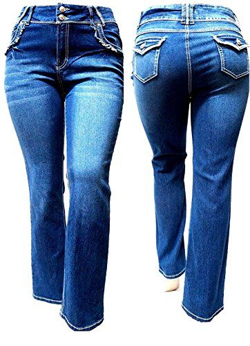 6246c6b9a8 Jack David Womens Plus Size Straight Leg Stretch Relaxed Fit Blue Denim  Jeans Pants - https