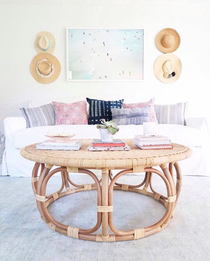 Beach house style, everyday | Anguilla Rattan Coffee Table via Serena & Lily | Image via @purejoyhome