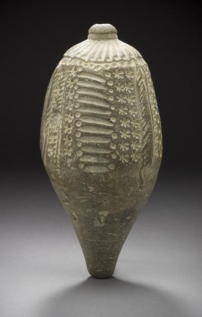 Vase | Origin: North Afghanistan, probably Balkh | Period: 12th century |  Ceramic; Vessel, Fritware, unglazed, Height: 6 5/8 in. (14.3 cm)