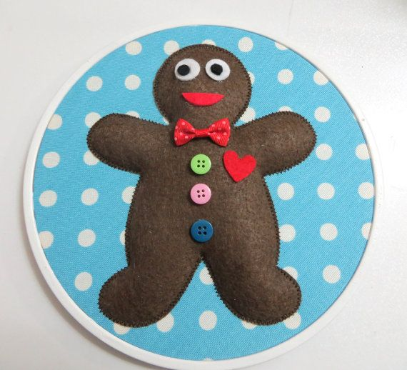 Rotund Gingerbread Man Appliqued Blue White Polka Dot by sesideco, $18.00