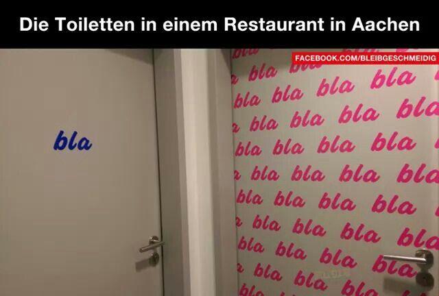 Männer und Frauen der KLEINE Unterschied blabla : Toiletten in einem Restaurant in Aachen