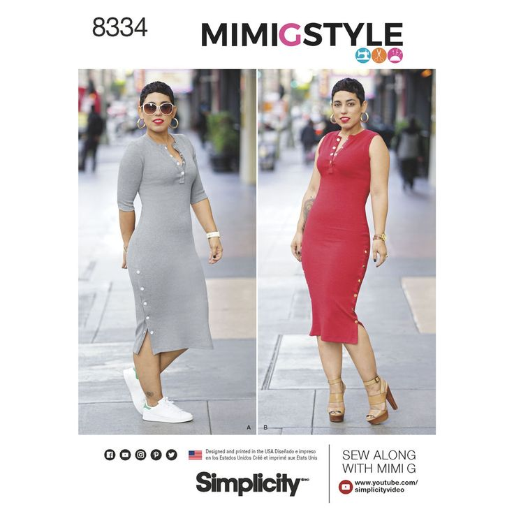 Mimi G Style long rib knit dress can be made with elbow-length sleeve or sleeveless. It features snaps at the neckline and along both side slits that allow you to wear as a long dress, or unsnap and wear over skinny bottoms. Simplicity sewing pattern. Free video tutorial available.