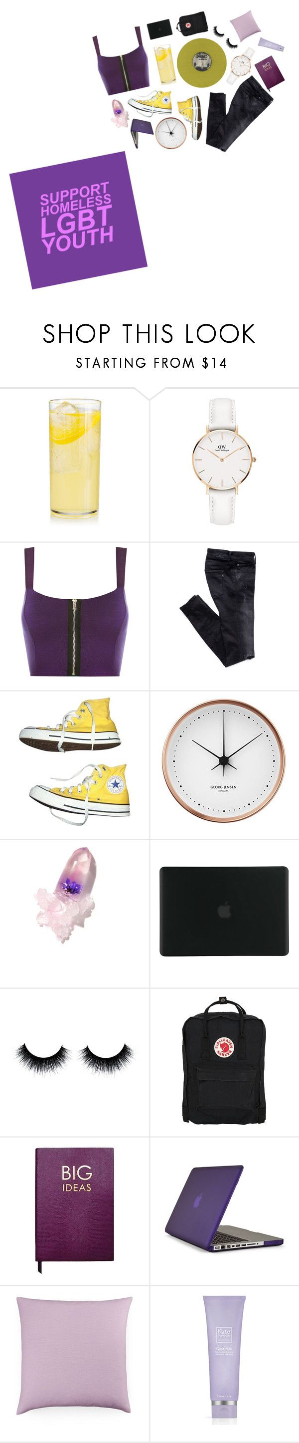 """""""[59]"""" by sparklelester ❤ liked on Polyvore featuring Daniel Wellington, WearAll, Converse, Georg Jensen, Winky Lux, Tucano, Fjällräven, Sloane Stationery, Speck and Bluebellgray"""