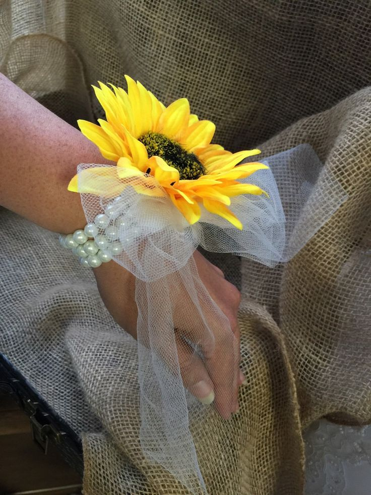 Sale - This listing includes 1 Sunflower Pearl Wrist Corsage with sheer tulle…