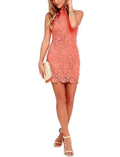1030cafed9ee5e Lamilus Women s Casual Sleeveless Halter Neck Party Lace Mini Dress at  Amazon Women s Clothing store