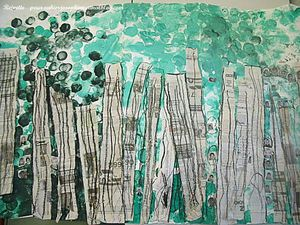 Marcel Odenbach Cut & Painted Newspaper Trees