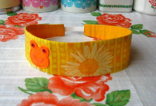 Yellow Frog Hairband - Felt Frog Headband - Reversible Yellow Hairband - Print Cotton Hairband - Frog Headband - Fabric Headband