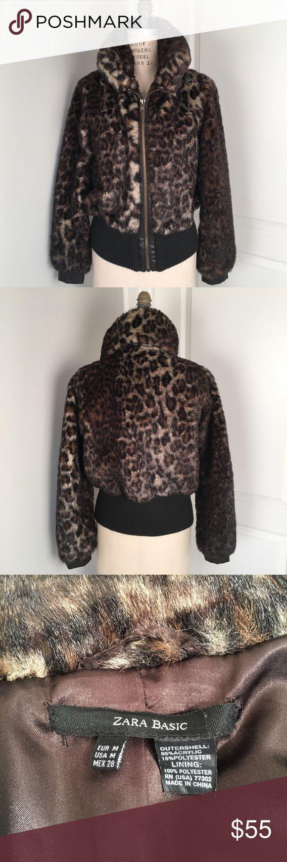 Zara Leopard Jacket ZARA faux fur leopard print bomber