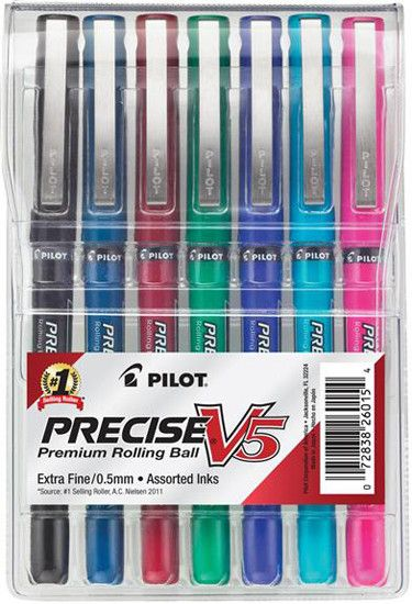 Pilot Precise V5 Assorted Colors (7) Needlepoint .5mm Rollerball Pen