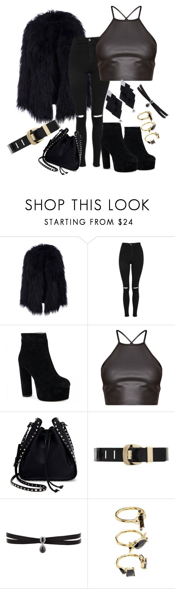 """Sem título #28"" by isysgabriely on Polyvore featuring moda, Topshop, Valentino, MICHAEL Michael Kors, Roberto Demeglio, Fallon e Noir Jewelry"