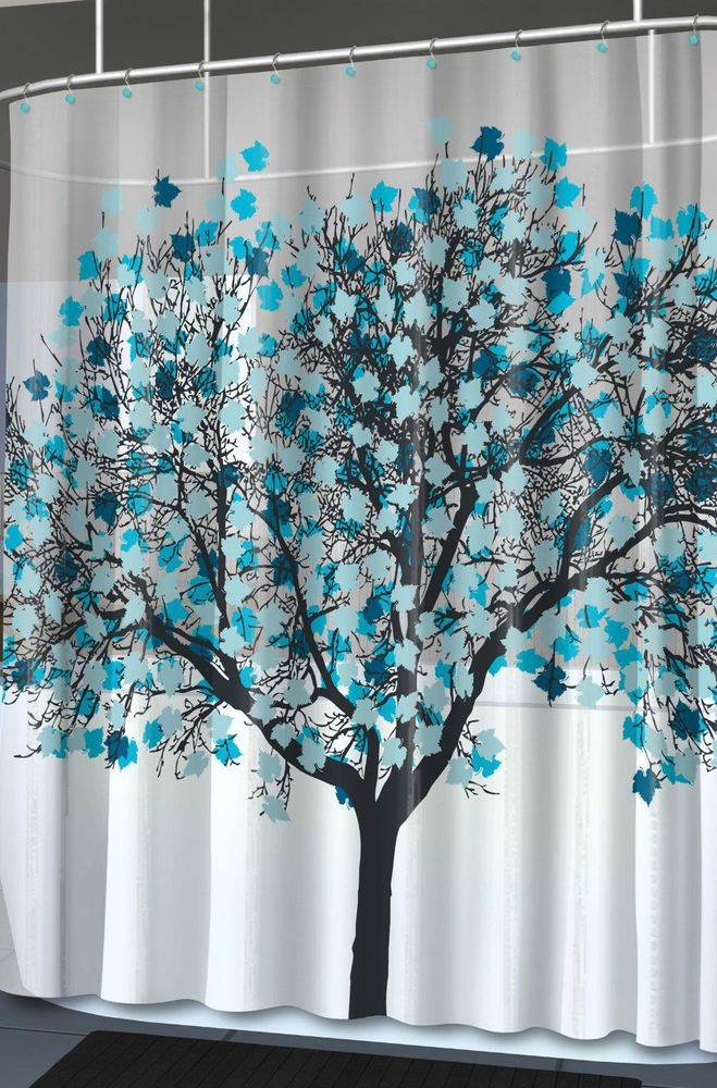 New Foliage Blue Unique Tree Graphic Home Shower Curtain
