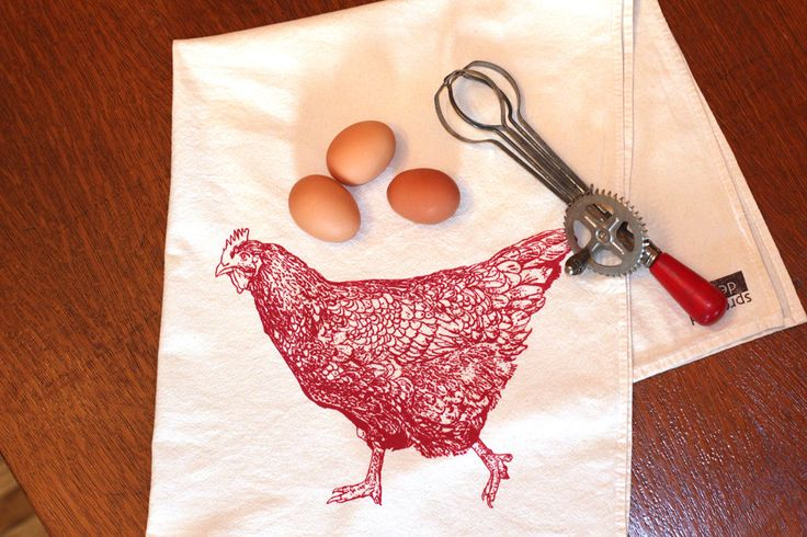 Chicken Flour Sack Towel - Deluxe Natural Tea Towel - Hand Screen Printed - Spring Chicken by SproutedDesigns on Etsy https://www.etsy.com/listing/126161050/chicken-flour-sack-towel-deluxe-natural
