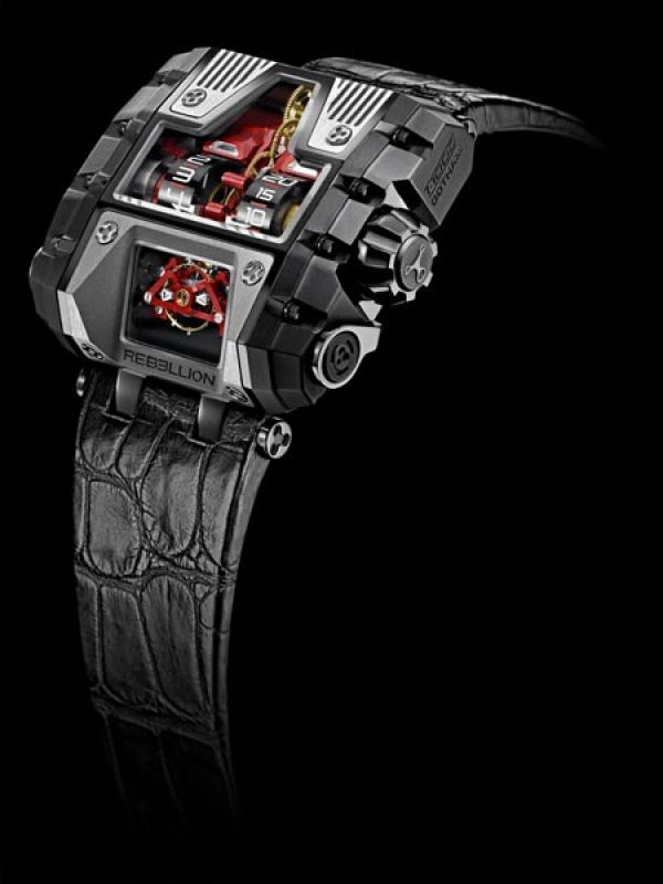 T-1000 Gotham, Rebellion: This muscle watch is encased in a titanium tank-inspired case, with the time indicators set in a cut-out section at the head. The T-1000 comes with a record 1000 hour power reserve, and comes in a limited edition of 25 pieces. If you dont like the red colour detailing, theres four other colours to choose from.