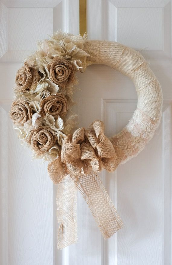 14 handmade burlap flower wreath. This is an original design created with love. Because they are handmade there may be slight variations.