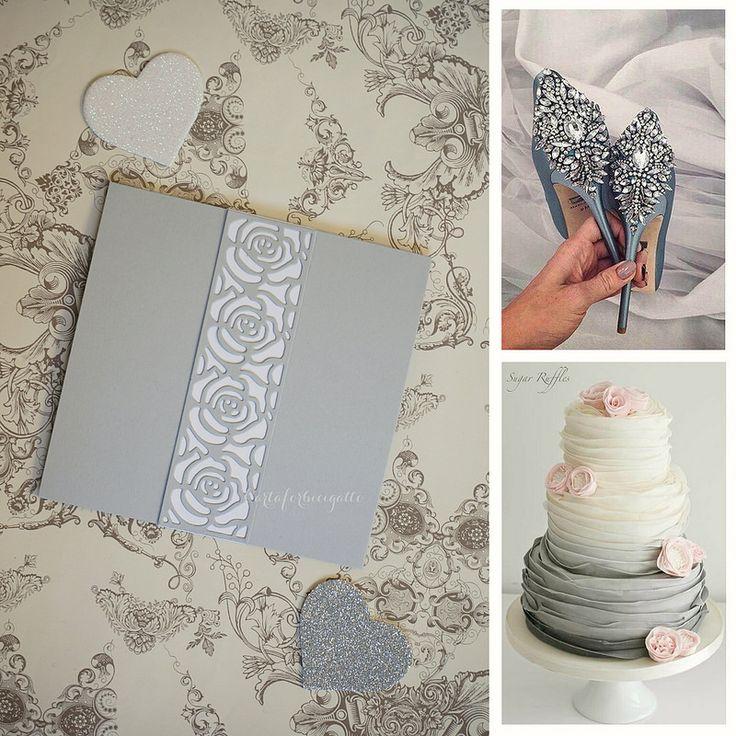 Dove Gray Wedding Invitations - Partecipazioni nozze grigio perla   da CartaForbiciGatto