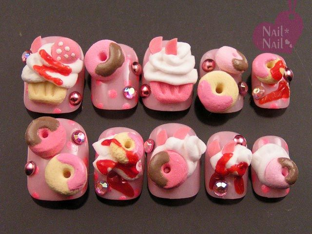 Donut and cup cake nails