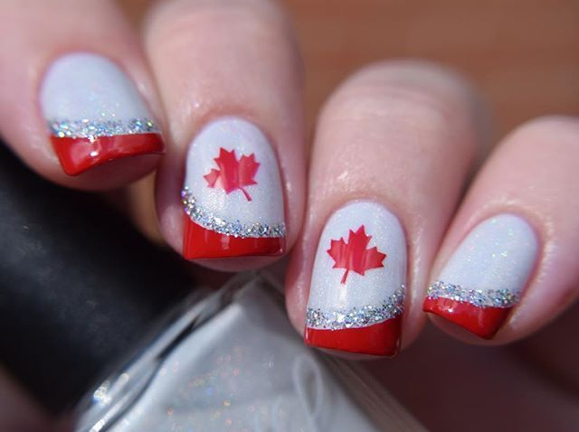 Happy Canada Day! Check out the feed #CanadaDayNailCollab for lots of amazing Canada Day nail art by lots of amazing ladies!! ❤️❤️ I used the following to create this mani: - @colorsbyllarowe Chasing A Unicorn Duo - @girlybitscosmetics Fire Engine Red & their stamping plate for the maple leaf - @paintedpolishbylexi Drunk Stripper for the glitter ❤️❤️❤️❤️❤️