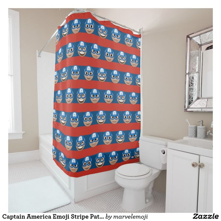 Captain America Emoji Stripe Pattern Shower Curtain. Producto disponible en tienda Zazzle. Decoración para el hogar. Product available in Zazzle store. Home decoration. Regalos, Gifts. #shower #curtain #cortina