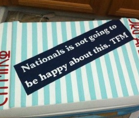 """Nationals is not going to be happy about this. TFM"" painted coolers #CoolerConnection #Fraternity"