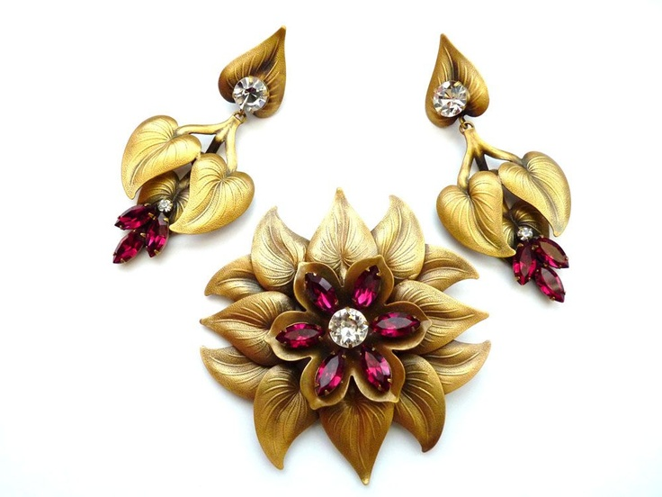 Joseff of Hollywood 1940s Calla Lily Pin and Earrings