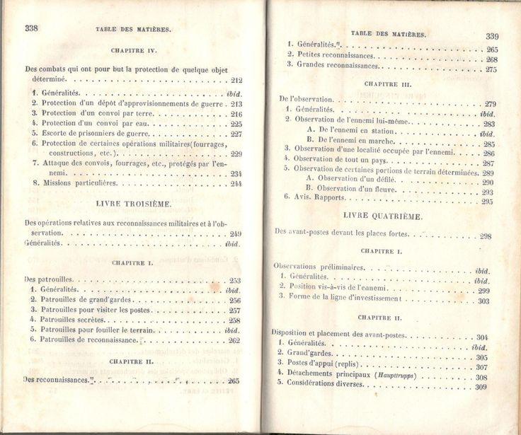 """Decker, """"De la petite guerre"""", Paris, J. Corréard, 1845. Table des chapitres, image 3 sur 4"""
